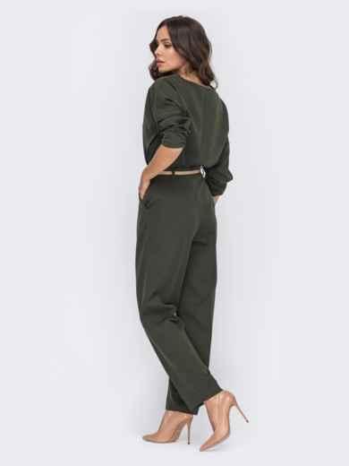 Брючный комплект со свободной блузкой хаки 50662, фото 3