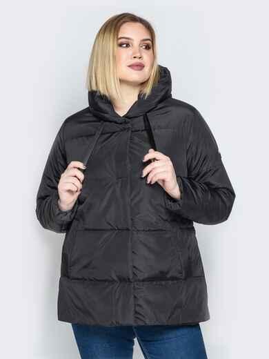 Чёрная куртка со вшитым капюшоном и кулиской - 20220, фото 1 – интернет-магазин Dressa