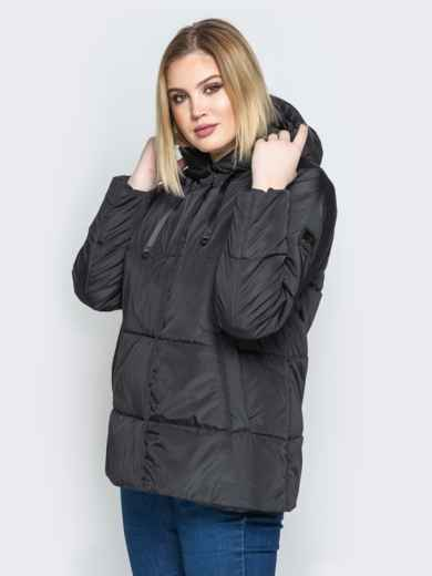 Чёрная куртка со вшитым капюшоном и кулиской - 20220, фото 2 – интернет-магазин Dressa
