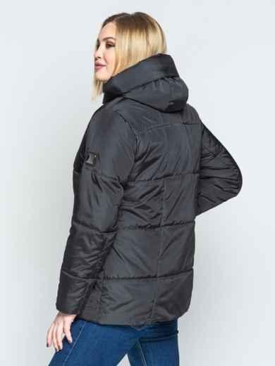 Чёрная куртка со вшитым капюшоном и кулиской - 20220, фото 3 – интернет-магазин Dressa