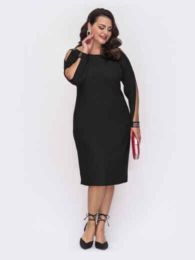 Черное платье батал с вырезами на рукавах 52129, фото 1