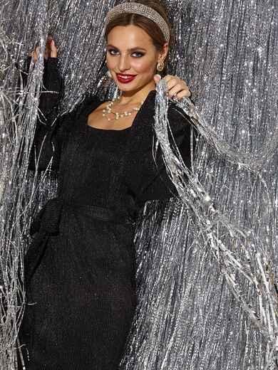 Чёрное платье прямого кроя из люрекса с овальным вырезом - 42688, фото 1 – интернет-магазин Dressa