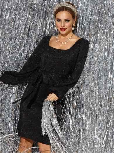 Чёрное платье прямого кроя из люрекса с овальным вырезом - 42688, фото 2 – интернет-магазин Dressa
