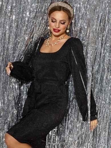 Чёрное платье прямого кроя из люрекса с овальным вырезом - 42688, фото 3 – интернет-магазин Dressa