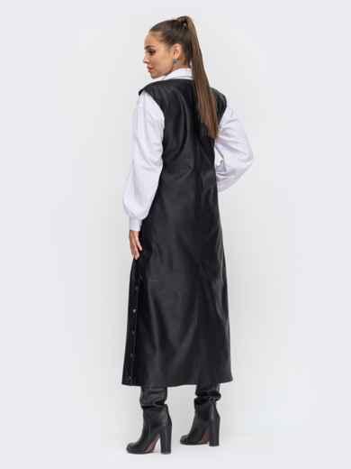 Длинное платье из эко-кожи с разрезами по бокам чёрное 50654, фото 3