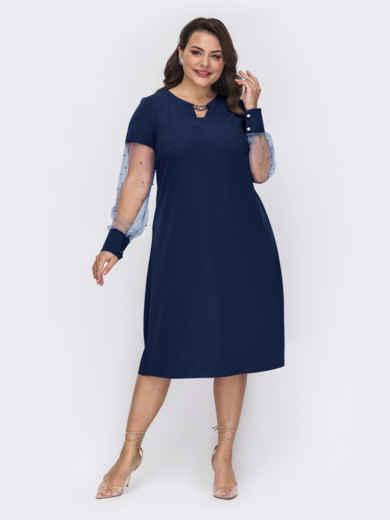 Темно-синее платье большого размера с жемчужинами на рукавах 52132, фото 1