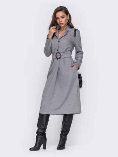 Трикотажное платье-рубашка с поясом серое 50660, фото 1
