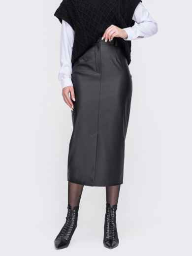 Черная юбка из экокожи 52676, фото 1