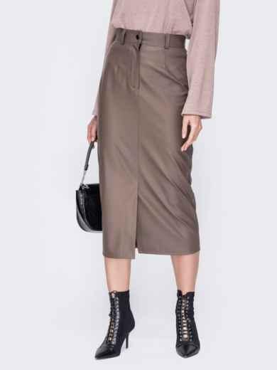 Бежевая юбка из экокожи 52677, фото 1