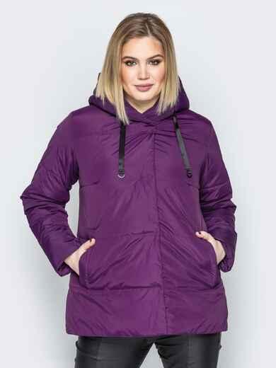 Фиолетовая куртка со вшитым капюшоном и кулиской - 20219, фото 1 – интернет-магазин Dressa