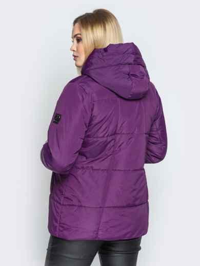 Фиолетовая куртка со вшитым капюшоном и кулиской - 20219, фото 2 – интернет-магазин Dressa