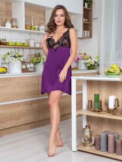 Фиолетовая сорочка из шелка с кокеткой из кружева - 20487, фото 1 – интернет-магазин Dressa