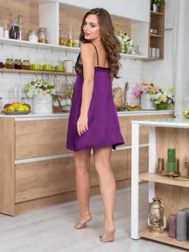 Фиолетовая сорочка из шелка с кокеткой из кружева - 20487, фото 2 – интернет-магазин Dressa