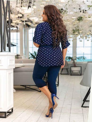 Комплект большого размера из блузки в горох и бридж тёмно-синий 48889, фото 3