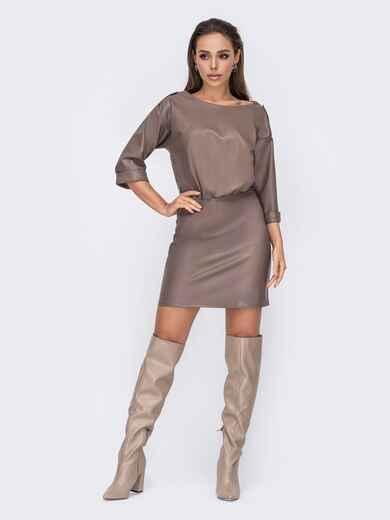Коричневое платье из эко-кожи застегивается на молнию 52674, фото 1