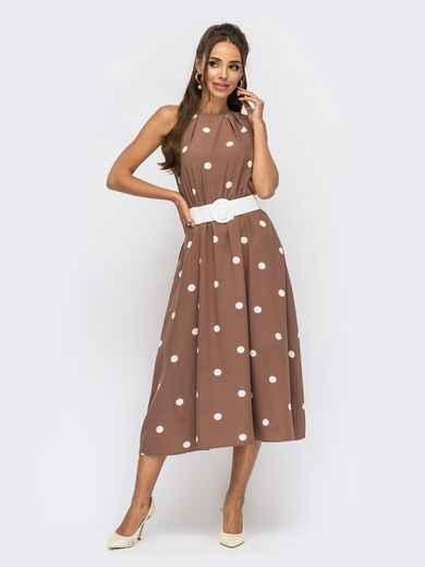 Коричневое платье в горох с американской проймой 53931, фото 1