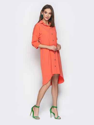 Персиковое платье-рубашка с удлиненной спинкой - 20611, фото 2 – интернет-магазин Dressa