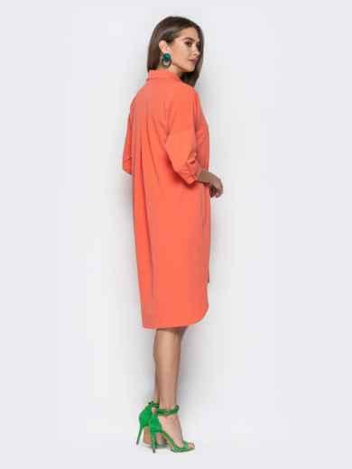 Персиковое платье-рубашка с удлиненной спинкой - 20611, фото 3 – интернет-магазин Dressa
