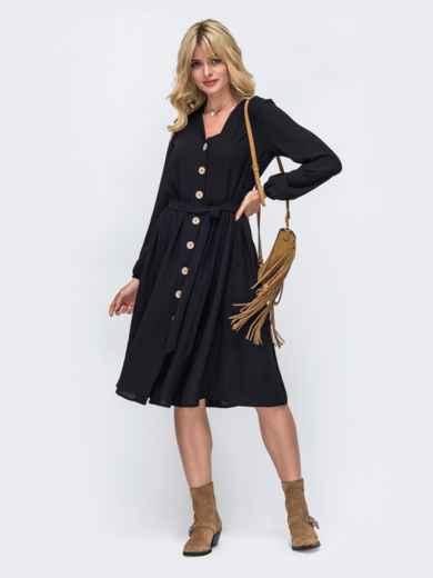 Платье-миди черного цвета на пуговицах по всей длине 50363, фото 2