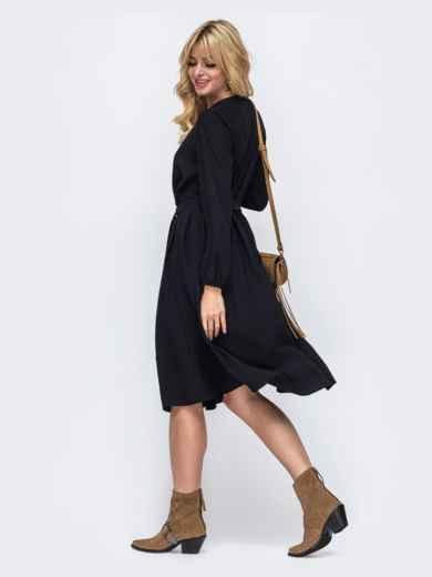 Платье-миди черного цвета на пуговицах по всей длине 50363, фото 3