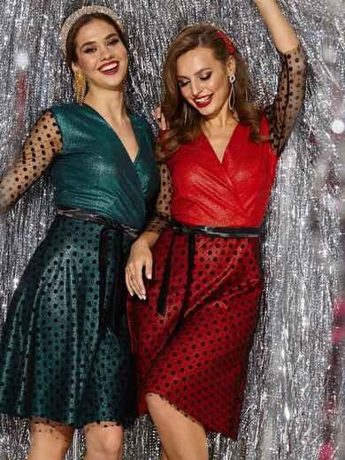 Платье с напылением и вставками из фатина красное 42693, фото 1