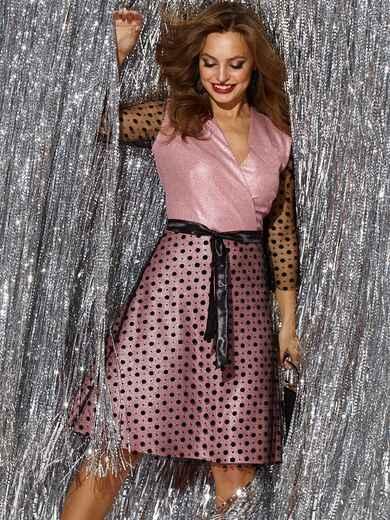 Платье с напылением и вставками из фатина пудра 42692, фото 1