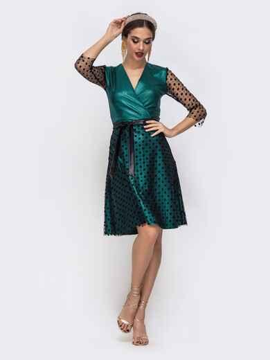 Платье с напылением и вставками из фатина зелёное 42694, фото 1