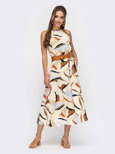 Платье с принтом и американской проймой бежевое 53928, фото 1