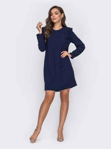 Прямое платье тёмно-синего цвета с подплечниками 50659, фото 2