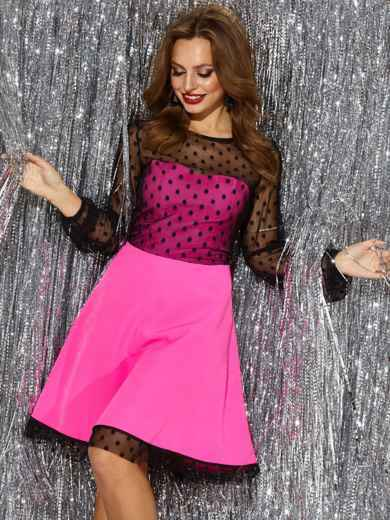 Розовое платье с расклешенной юбкой и фатиновыми вставками 42680, фото 2
