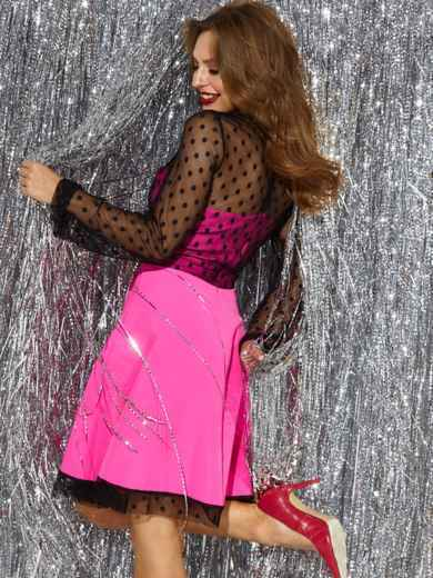 Розовое платье с расклешенной юбкой и фатиновыми вставками 42680, фото 3