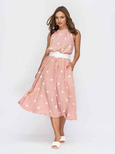 Розовое платье в горох с американской проймой 53930, фото 1