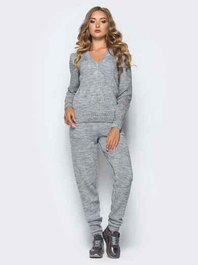 Серый комплект с накладными карманами на брюках - 16097, фото 2 – интернет-магазин Dressa