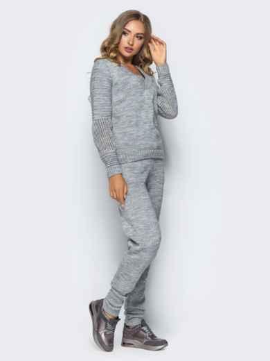 Серый комплект с накладными карманами на брюках - 16097, фото 3 – интернет-магазин Dressa