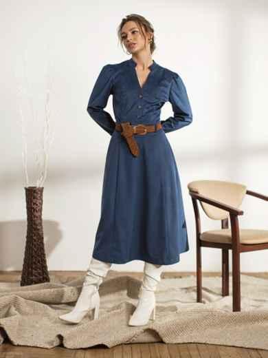 Тёмно-синее платье с воротником-стойкой 44238, фото 2