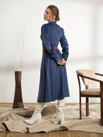 Тёмно-синее платье с воротником-стойкой 44238, фото 3