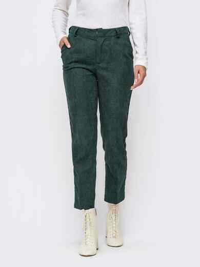 Укороченные брюки из вельвета зеленого цвета 41725, фото 1