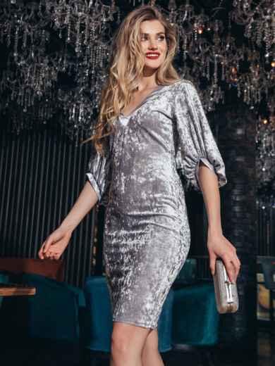 Велюровое платье с объемными рукавами серое - 42679, фото 3 – интернет-магазин Dressa