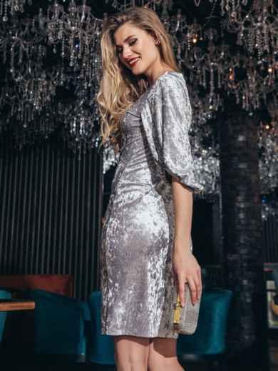 Велюровое платье с объемными рукавами серое - 42679, фото 4 – интернет-магазин Dressa