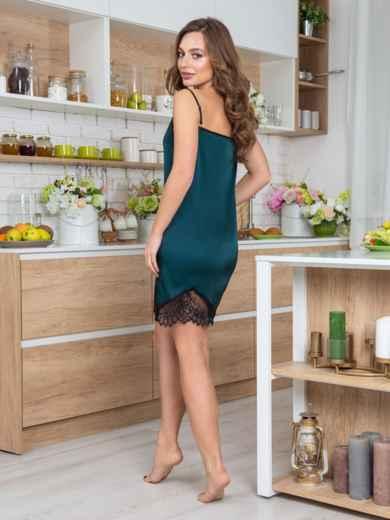 Зелёная сорочка с кружевом на полочке и по низу - 20483, фото 2 – интернет-магазин Dressa