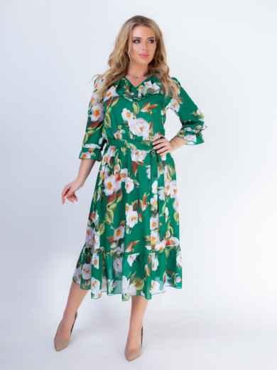 Зеленое платье батал с принтом и резинкой по талии 46528, фото 2