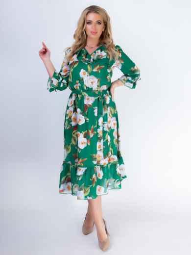 Зеленое платье батал с принтом и резинкой по талии 46528, фото 3