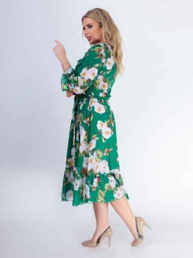 Зеленое платье батал с принтом и резинкой по талии 46528, фото 4