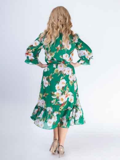 Зеленое платье батал с принтом и резинкой по талии 46528, фото 5