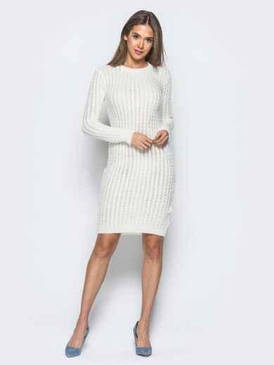 Белое платье крупной ажурной вязки - 17073, фото 1 – интернет-магазин Dressa
