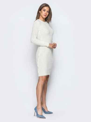 Белое платье крупной ажурной вязки - 17073, фото 2 – интернет-магазин Dressa