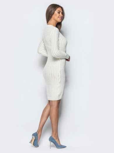Белое платье крупной ажурной вязки - 17073, фото 3 – интернет-магазин Dressa