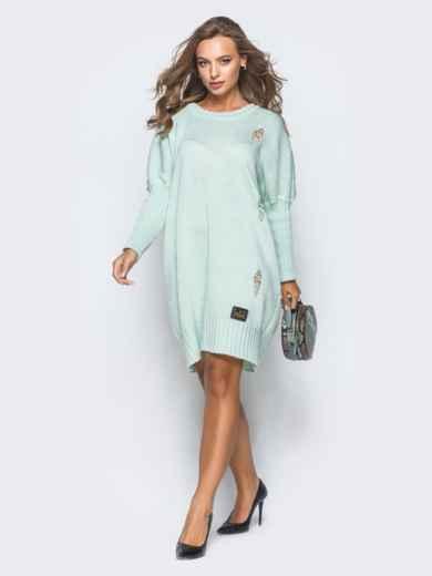 Бирюзовое вязаное платье с перфорацией и резинкой на рукавах - 17078, фото 2 – интернет-магазин Dressa