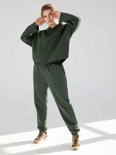 Брючный костюм большого размера с худи хаки 53302, фото 1