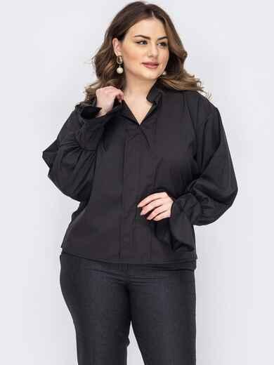 Черная блузка батал с воротником-стойкой 53300, фото 1